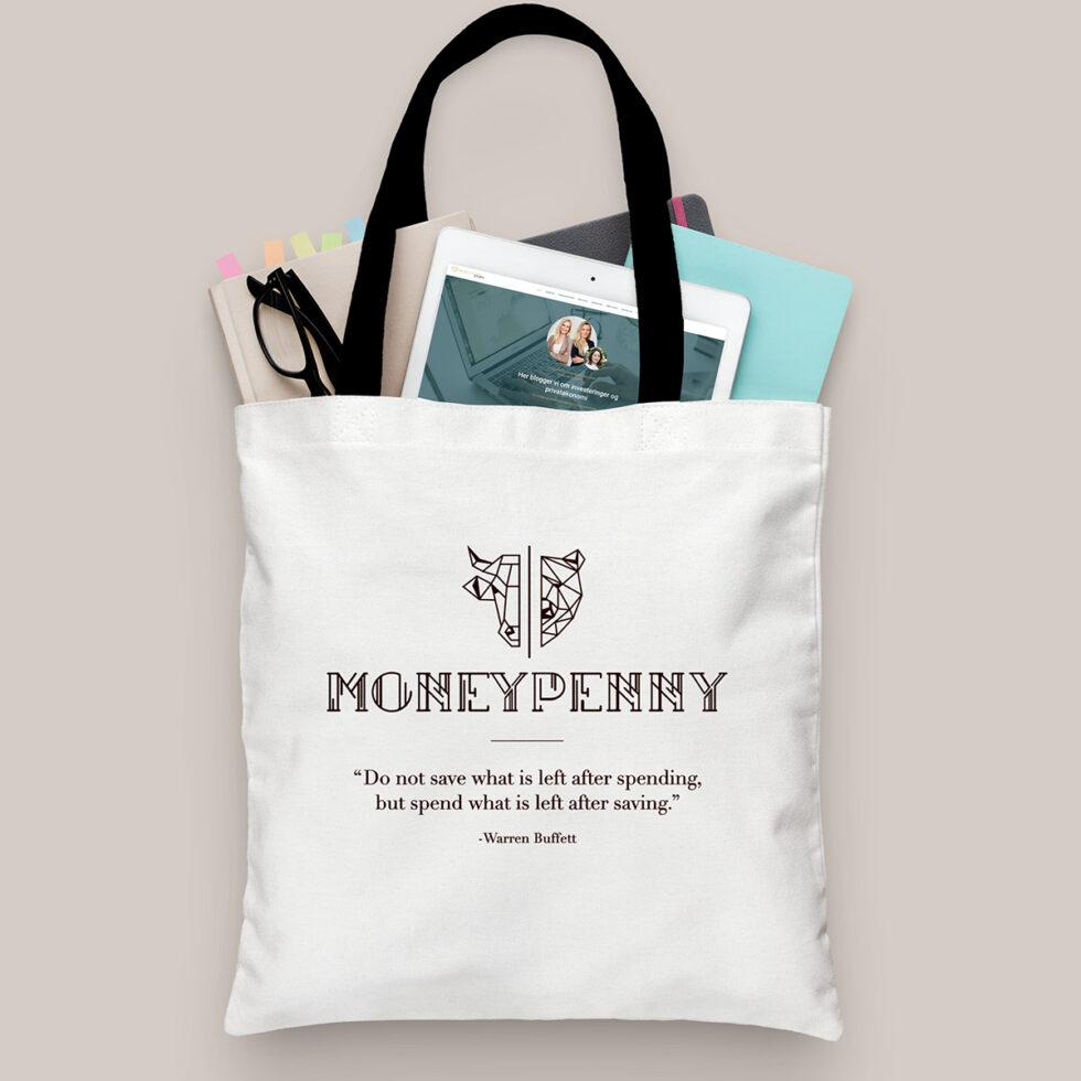 Mulepose branding og merchandise for Moneypenny & More